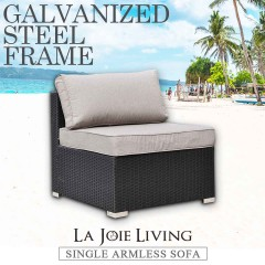 La Joie Outdoor Living Single Armless Modular Sofa Rattan Furniture Lounge
