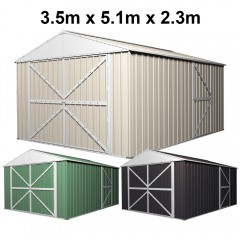 Garage Shed Workshop 3.5m x 5.1m x 2.3m with Double Barn Door