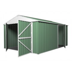 [CLEARANCE] Garage Shed 5.1m x 3.5m x 2.3m Rivergum Green with Double Barn Door Workshop