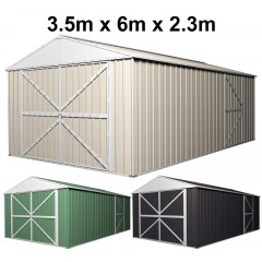 Garage Shed 6m x 3.5m x 2.3m (Gable) Double Barn Door Workshop with 4 Internal Trusses