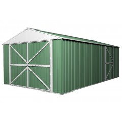 [Clearance] Garage Shed 6m x 3.5m x 2.3m Rivergum Green Workshop 4 Portal Frames