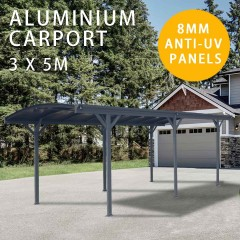 Carport 8MM ANTI-UV Panels 2.57m Extra High Aluminium 3m x 5m Outdoor Canopy Car Port