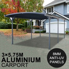 Carport 8MM ANTI-UV Panels 2.57m Extra High Aluminium 3m x 5.7m Outdoor Canopy Car Port