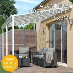 DIY 8mm Anti UV Panels Pergola Kit Outdoor Patio Deck Cover Roof 5 x 3m Verandah Aluminum