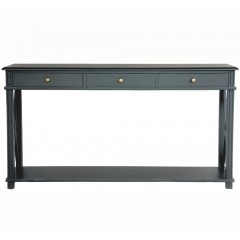 Hamptons Halifax Side Cross 3 Drawers Console Hall Table Furniture in Black