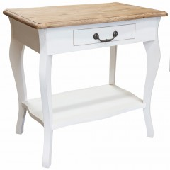 French Classic Bedside Table with Drawer Louis White