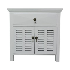 French Provincial Classic Bedside Table One Drawer with Door in White
