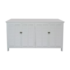 Hamptons Louvre 4 Door Sideboard Buffet Cabinet in White