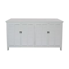 Hamptons Louvre 4 Door Sideboard Buffet Cabinet in White