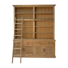 Add To Wishlist French Provincial Hamptons Natural Oak Open Double Buffet And Hutch Bookcase With Ladder