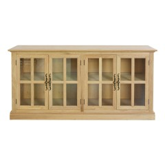 French Provincial Classic Natural Oak Glass Buffet Sideboard