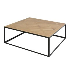 Detroit Industrial Loft Parquet Oak Square Coffee Table with Iron Base