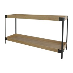 Detroit Industrial Loft Oak Console Hall Table With Iron Base