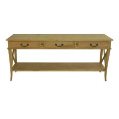 Hamptons Halifax Side Cross 3 Drawers Console Hall Table - Natural Oak
