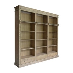 French Provincial Hamptons Open Library Bookcase with Ladder in Natural Oak