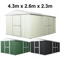 Garden Shed 4.3m x 2.6m x 2.3m Double Barn Door + PA Door  Extra Frame - 3 Frames Design