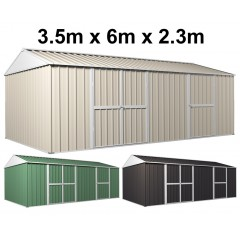 Garden Shed 3.5m x 6m x 2.3m Workshop Side Double doors + PA door