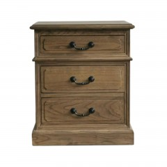 Hamptons Halifax Three Drawers Bedside Lamp Table Nightstand NATURAL