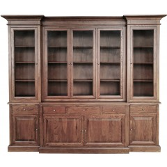 Hamptons Buffet Sideboard Glass Doors Hutch Bookcase Natural Oak