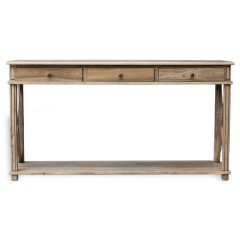 Hamptons Halifax Side Cross 3 Drawers Console Hall Table Furniture in Natural Oak