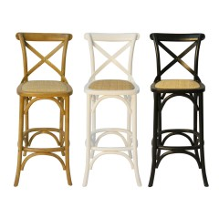 French Provincial Hamptons Cross Back Bar Stool Birch American Oak Rattan Seat