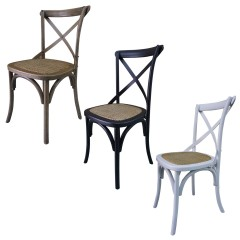 Set of 2 Hamptons Cross Back Dining Chair Birch American Oak Rattan Seat