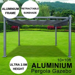 10 x 10 ft Aluminum Pergola Gazebo With Sliding Retractable Shade