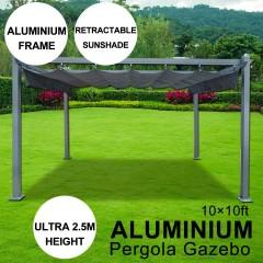 10 x 10 ft Aluminum Pergola Gazebo With Sliding Retractable Shade