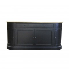 French Provincial Provence Sideboard Buffet in WHITE/BLACK with Natural Top