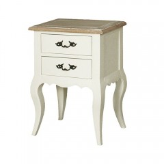 French Provincial White Classic bedside table with 2 drawers