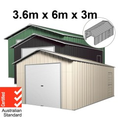 Roller Door Garage Shed 3.6m x 6m x 3m (Gable) Workshop with 4 Frames EXTRA High