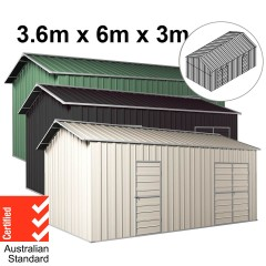 Garage Workshop Shed 3.6m x 6m x 3m Side Double Doors + PA doors 4 Frames Design EXTRA High