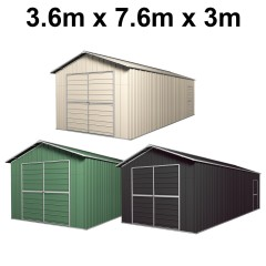 Double Barn Door Garage Shed 3.6m x 7.6m x 3m (Gable) Workshop with 5 Frames EXTRA High