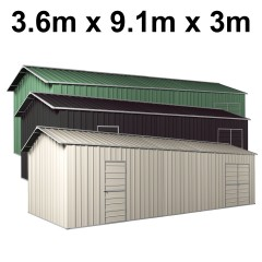Garage Workshop Shed 9.12m x 3.6m x 3m Side Double Doors + PA doors 6 Frames Design