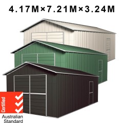 Barn Door Garage Shed 4.17m x 7.21m x 3.24m Workshop + Side PA Door with 4 Frames EXTRA High