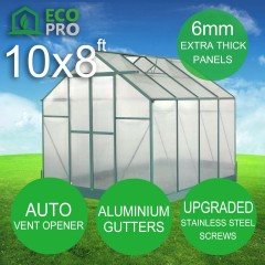 EcoPro Greenhouse 10 x 8ft 6mm Panels with Stainless Steel Screws