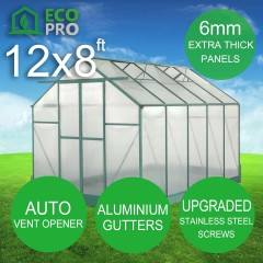 EcoPro Greenhouse 12 x 8ft - 6mm Panels