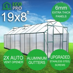 EcoPro 6mm 19 x 8ft  Greenhouse