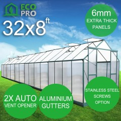 EcoPro Greenhouse 32 x 8ft - 6mm Panels