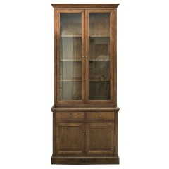 Hampton Halifax Natural Oak 2 Glass Door Hutch Display and Buffet Cabinet Cupboard