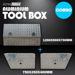 COMBO - Ultra Tools 2.5mm Aluminium 1200x500x700mm Side Opening Tool Box + 1.5mm Aluminium 750x250x400mm Under Tray Side Tool Box