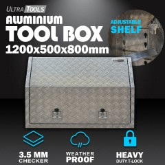 Aluminium Ute Tool Box 2.5mm 1200x500x800mm Full Side Opening Vehicle Storage