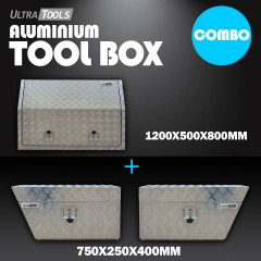 COMBO - Ultra Tools 2.5mm Aluminium 1200x500x800mm Full Side Opening Tool Box + 1.5mm Aluminium 750x250x400mm Under Tray Side Tool Box