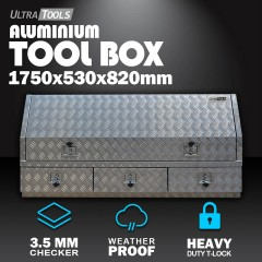 Aluminium Ute Tool Box 2.5mm 1750x530x820mm 3 Drawers Side Opening Vehicle Storage
