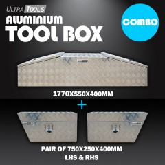 COMBO - Ultra Tools 2.0mm Aluminium 1770x550x400mm Gullwing Tool Box + 1.5mm Aluminium 750x250x400mm Under Tray Side Tool Box