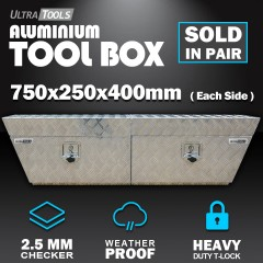 Aluminium Ute Tool Box 1.5mm 750x250x400mm Undertray Underbody Vehicle Storage