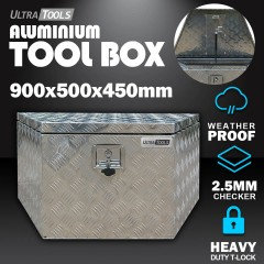 Aluminium Ute Tool Box 1.5mm 900x500x450mm Drawbar Vehicle Storage
