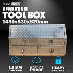 Aluminium Ute Tool Box 2.5mm 1450x530x820mm 2 Drawers Side Opening Vehicle Storage
