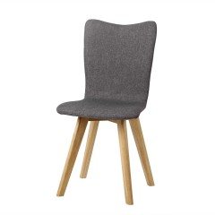 Fyn Set of 2 Upholstered Modern Fabric Dining Chairs - Grey Blue Cream
