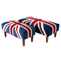 Contemporary UK British Flag Union Jack Upholstered Footstools & Ottoman (Large)